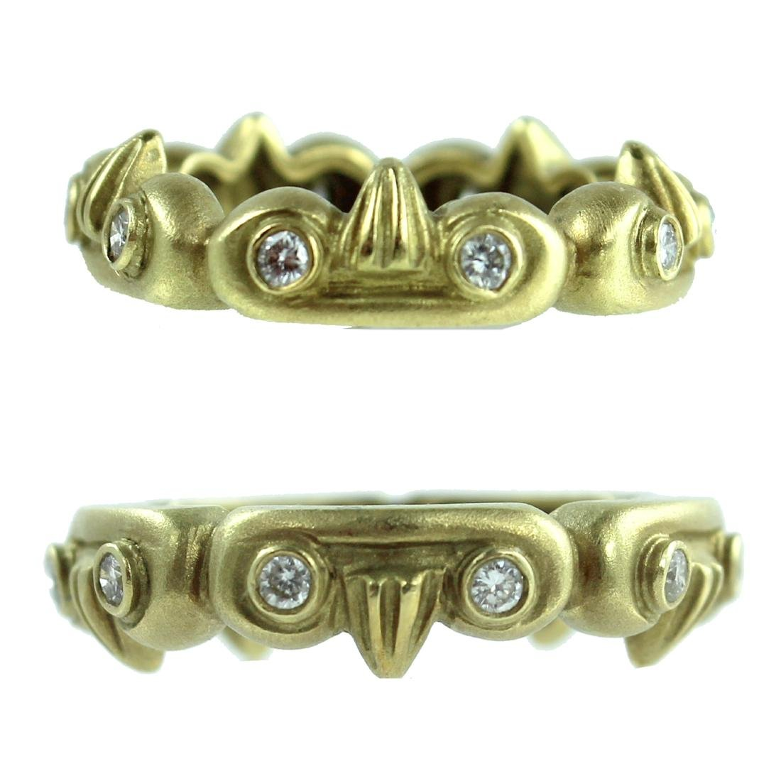 2)TWO 18K YELLOW GOLD & DIAMOND DESIGNER RINGS