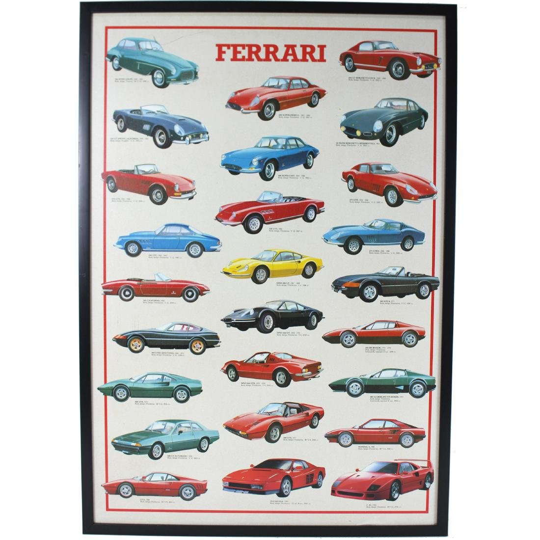VINTAGE, CLASSIC FERRARI CAR POSTER ON BOARD