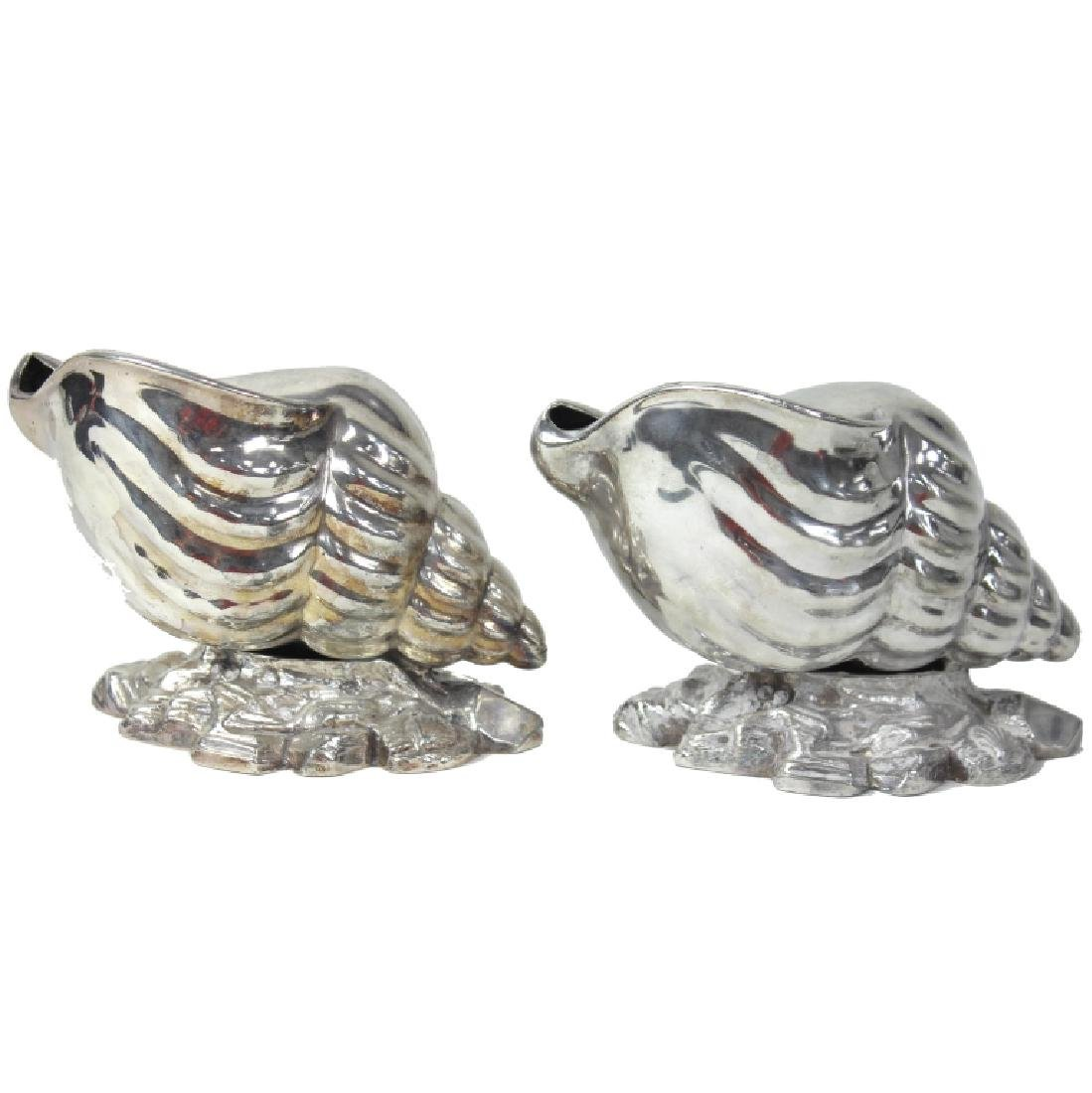Pair, Victorian Era Nautilus Shell Spoon Warmers