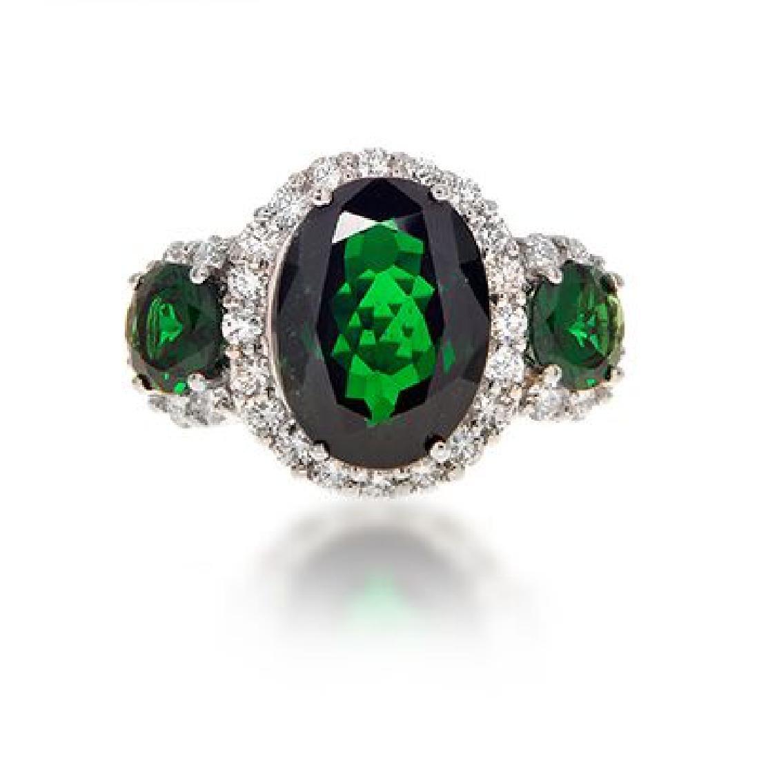 Very Fine 8.05 carat Tsavorite Garnet Ring