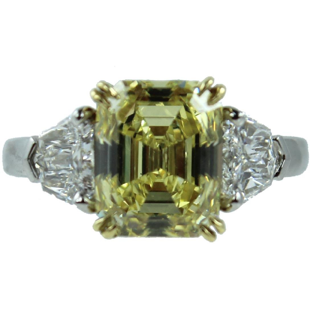 RARE. GIA Certified 3.76CT Fancy Intense Yellow.