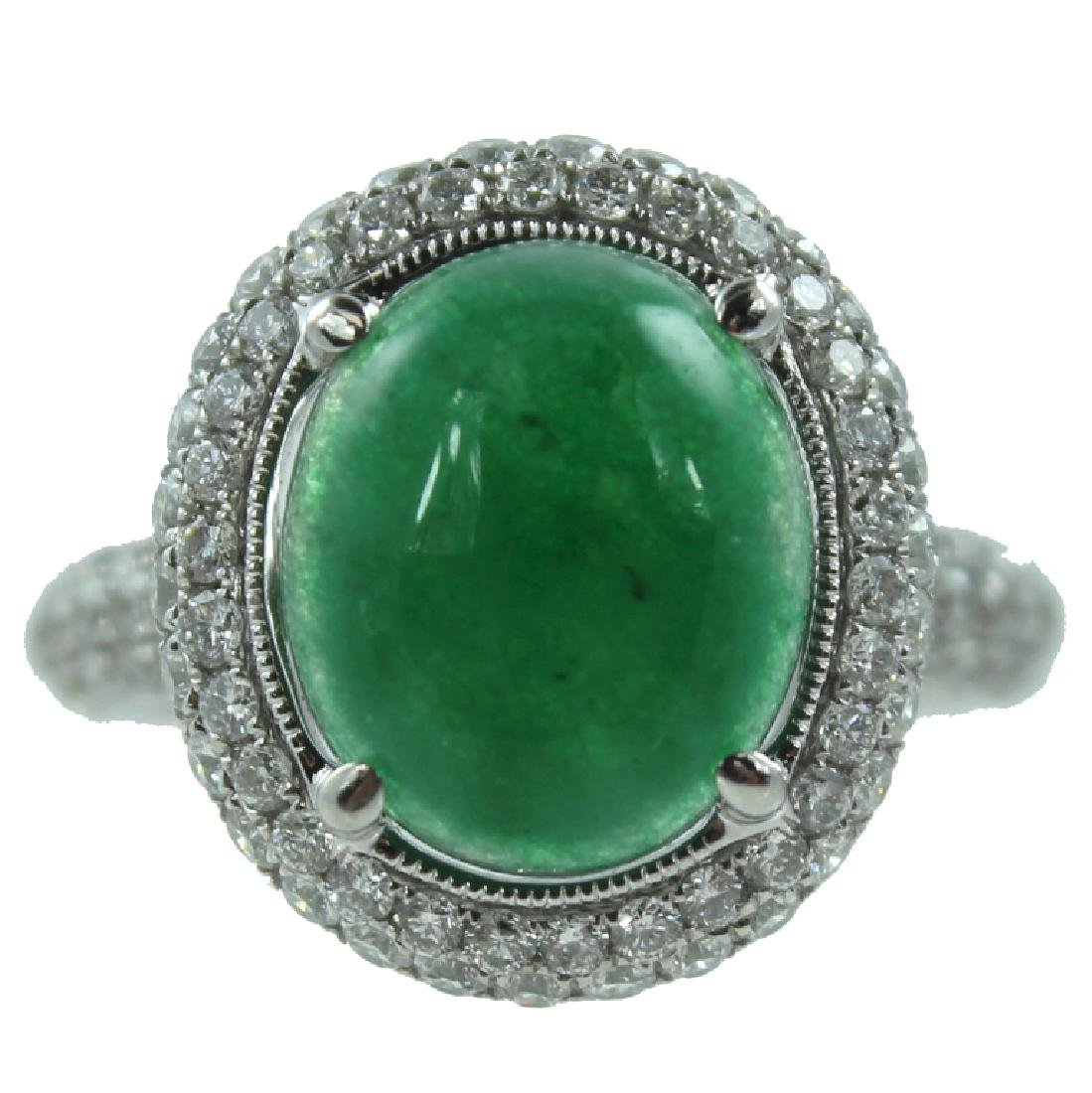 Burmese Jade & Diamond Ring.