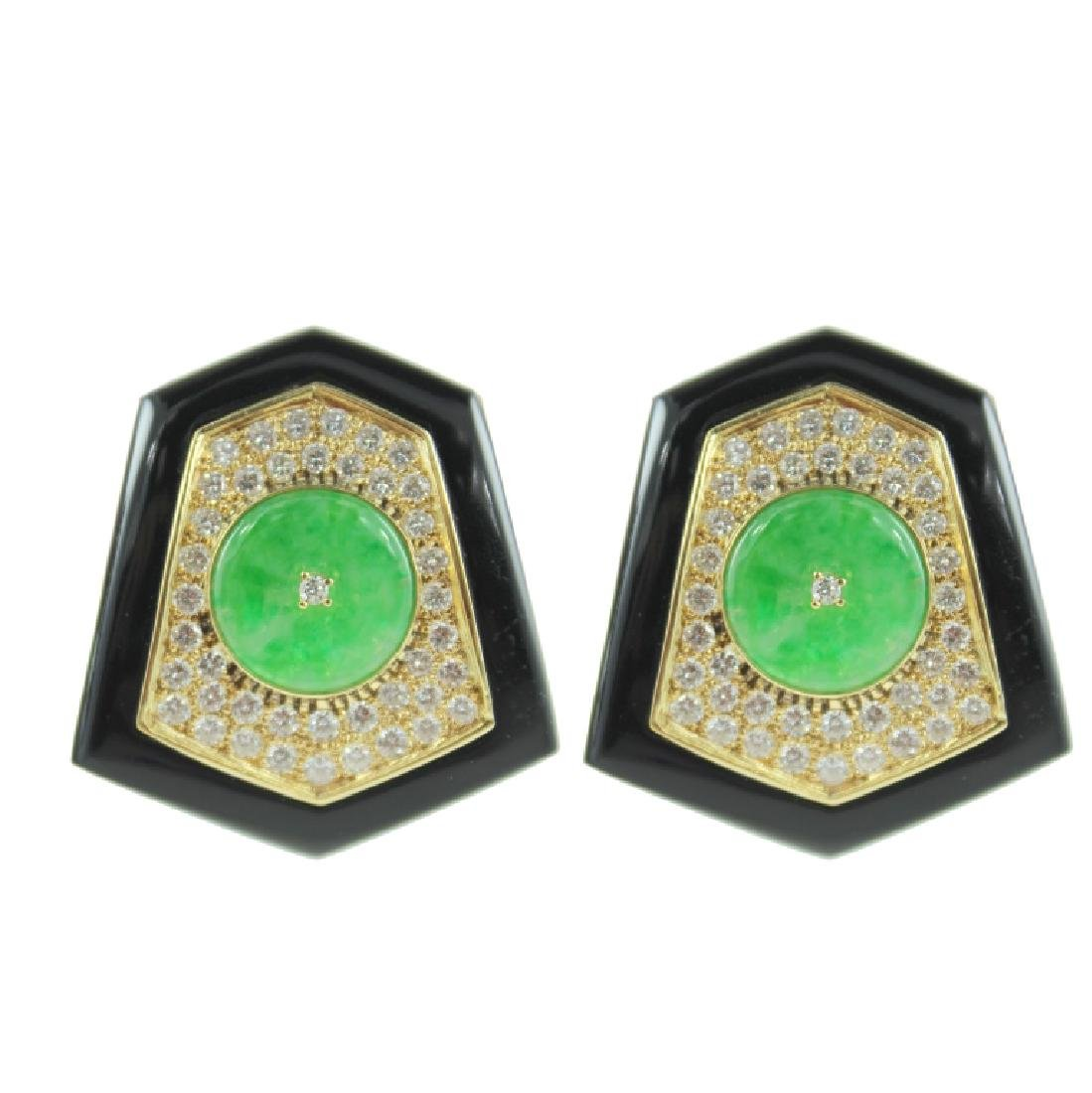 Jade, Onyx & Diamond Earrings.