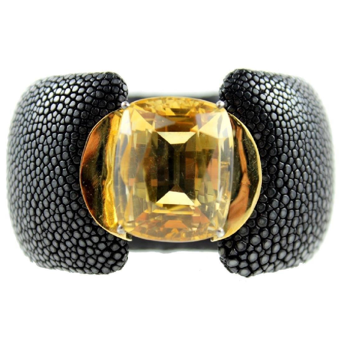 Citrine Stingray Skin Bangle Bracelet.