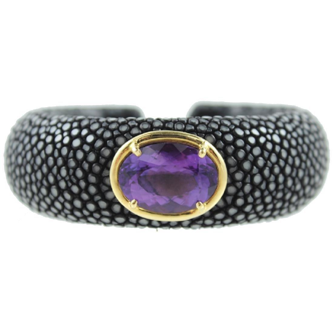 Amethyst Stingray skin Cuff bracelet.