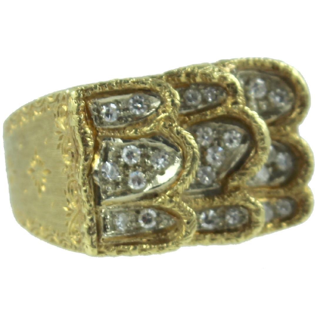 Mens Estate 18K Diamond Ring.