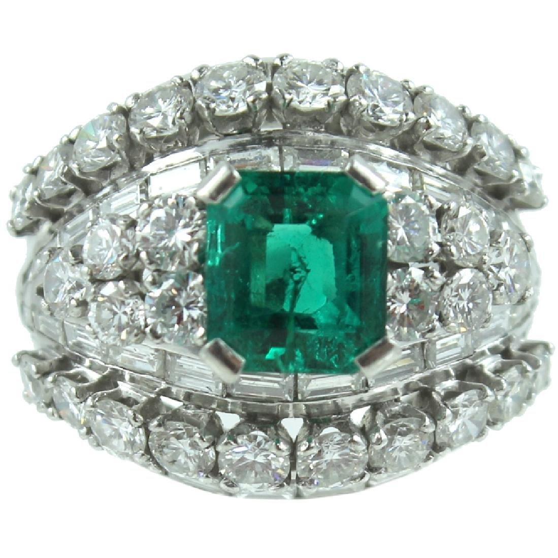 Platinum Emerald & Diamond Ring.