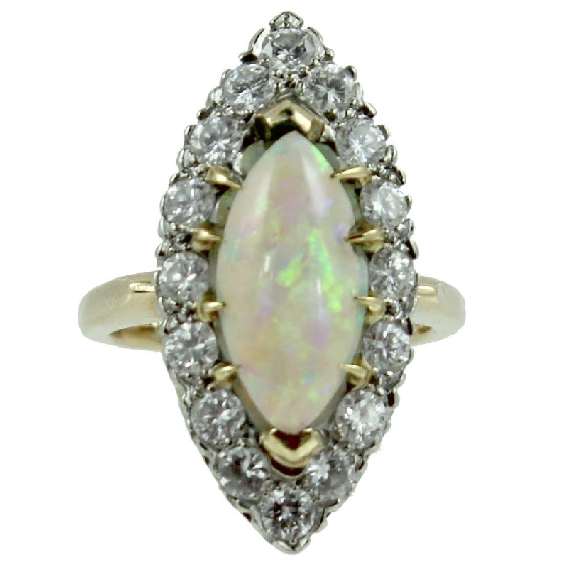 Marquise opal & Diamond Ring.