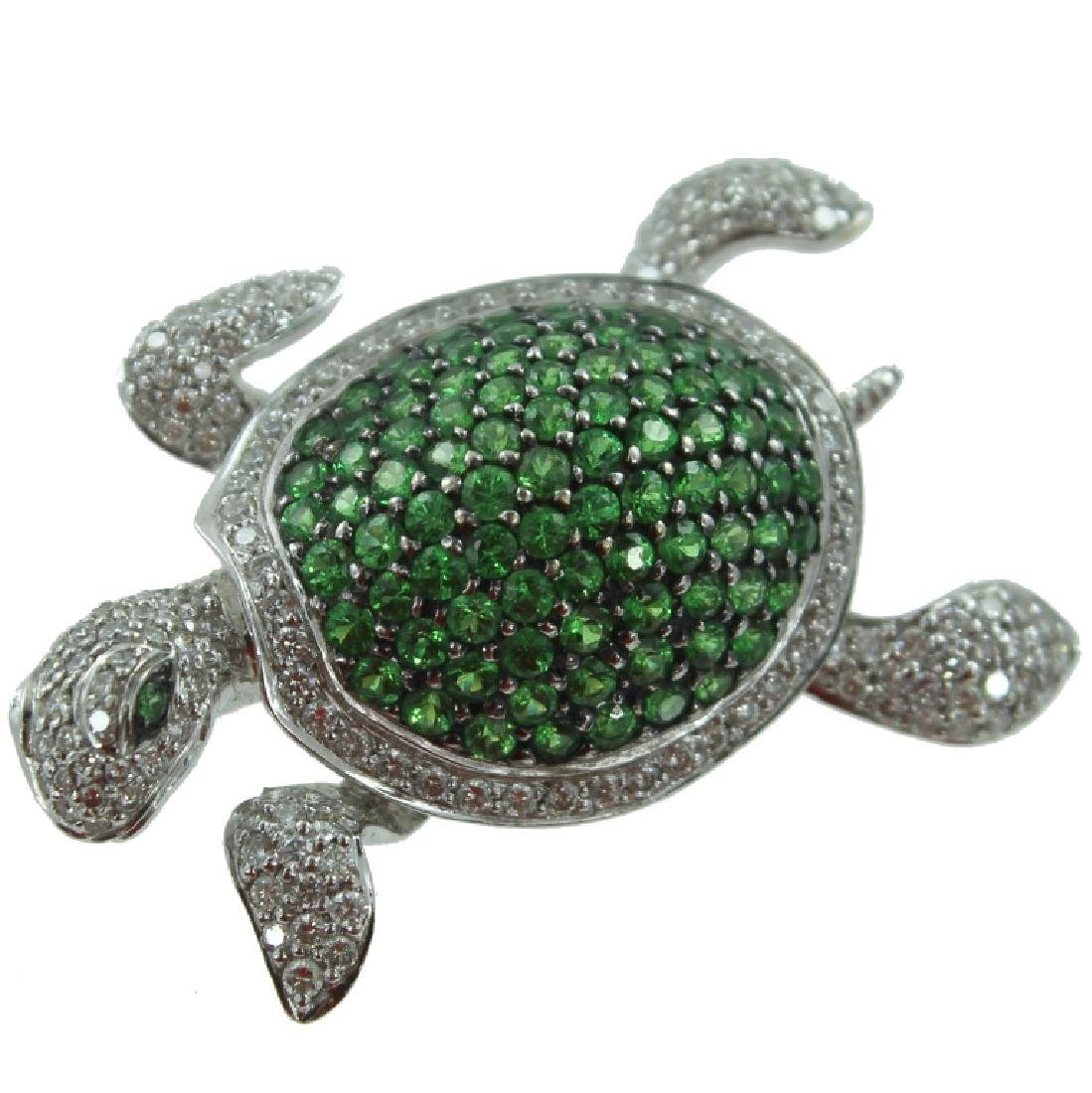 Tsavorite & Diamond Turtle Brooch.