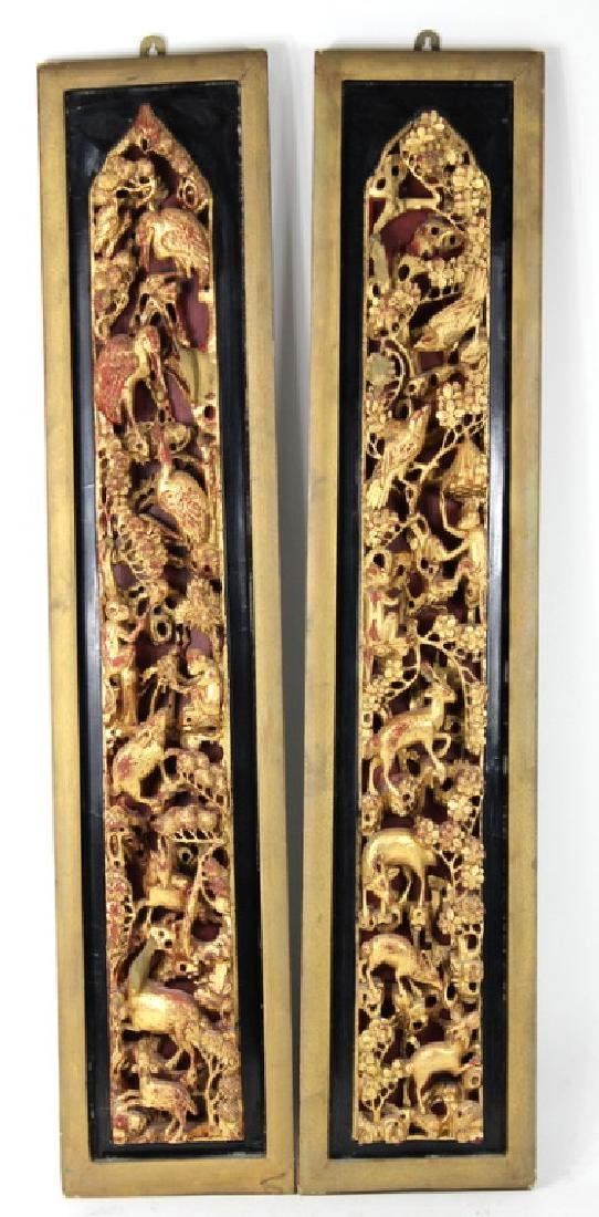 PAIR, CHINESE GILT PAINTED CARVED ANIMAL PLAQUES