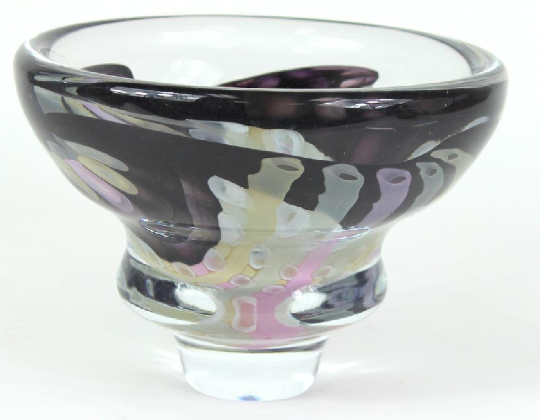 MURANO, ART GLASS BOWL, HEAVY, SIGNED