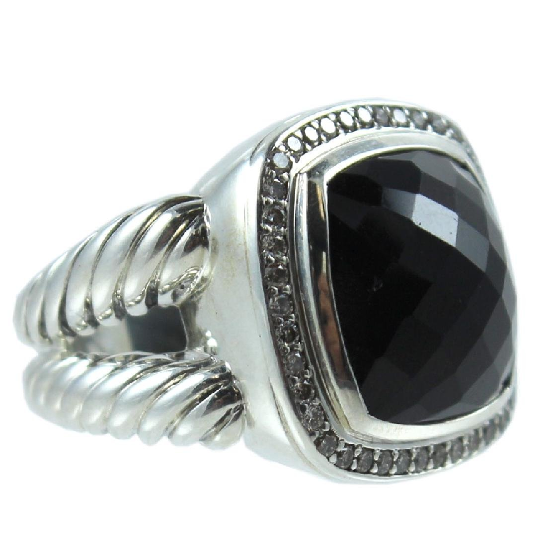 David Yurman Sterling Diamond Onyx Albion Ring.