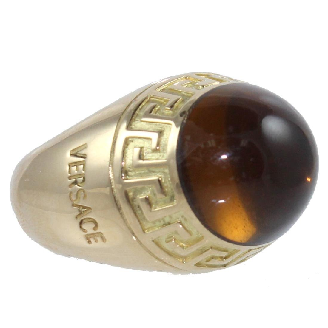 Large. Mens 18K Versace Fashion Ring.