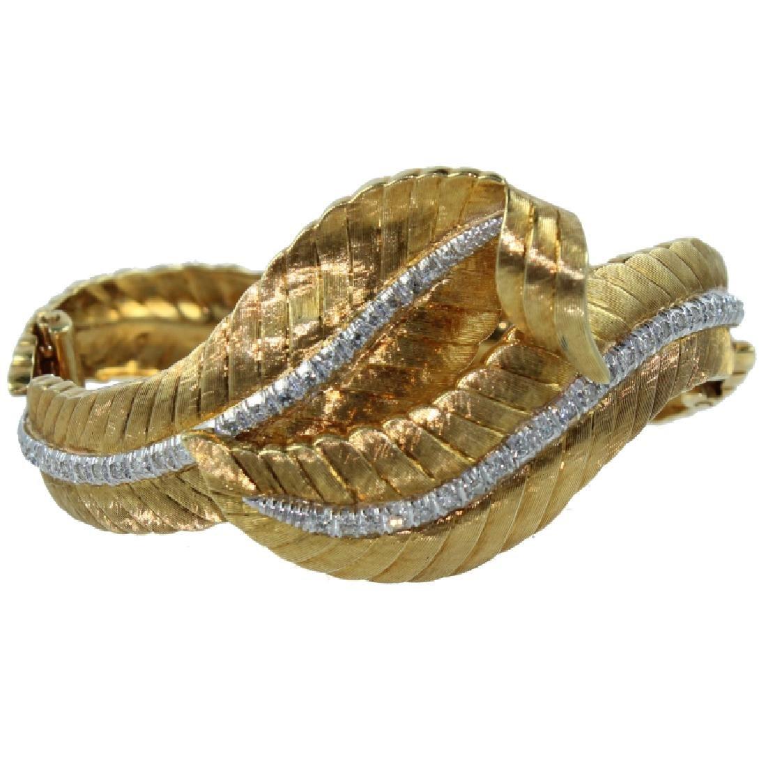 Mario Buccellati Style Diamond Bangle Bracelet.