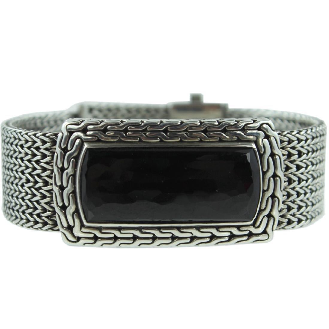John Hardy Men's Black Onyx Silver ID Bracelet.