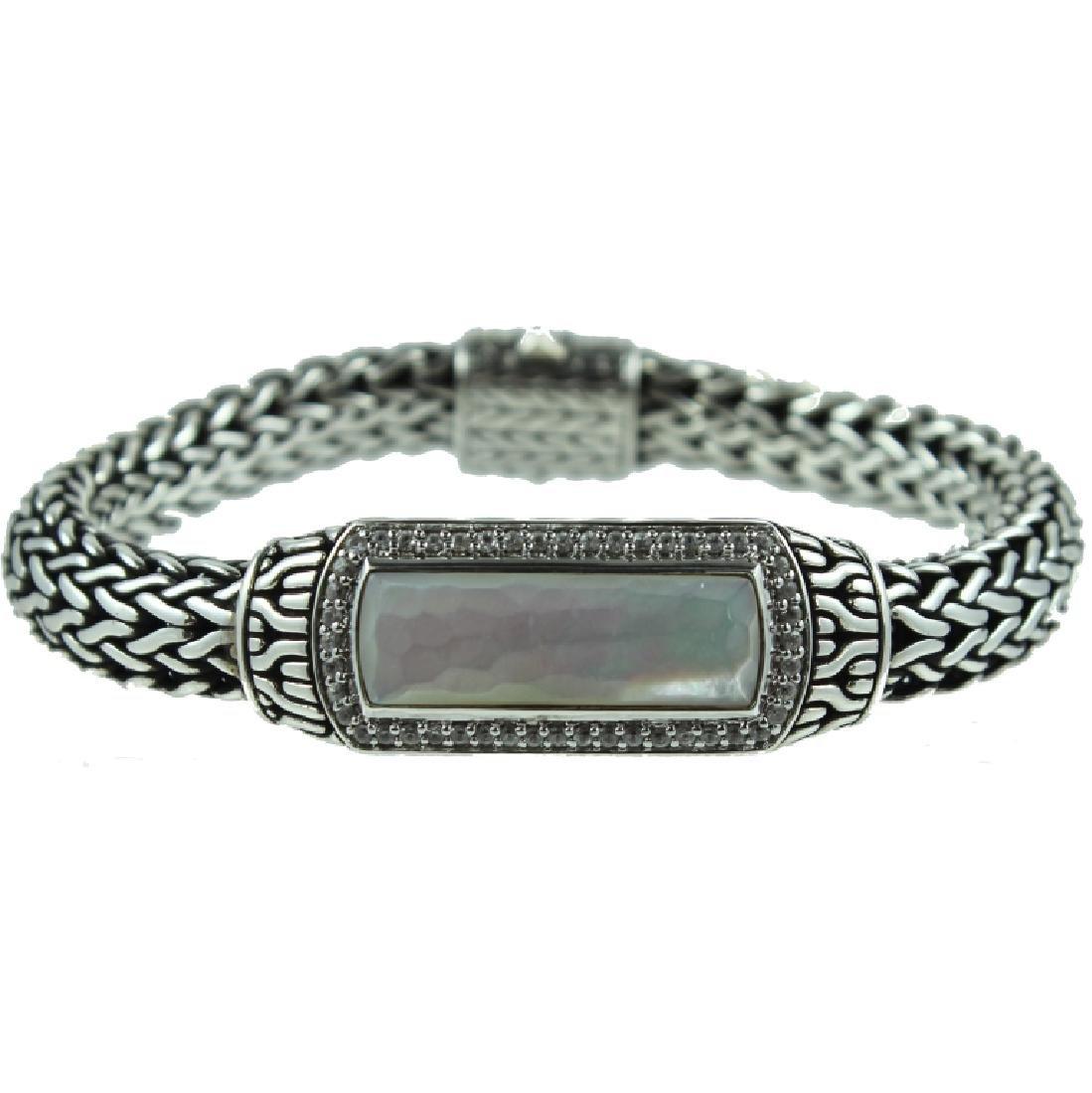 John Hardy Mens M.O.P Diamond ID Bracelet.