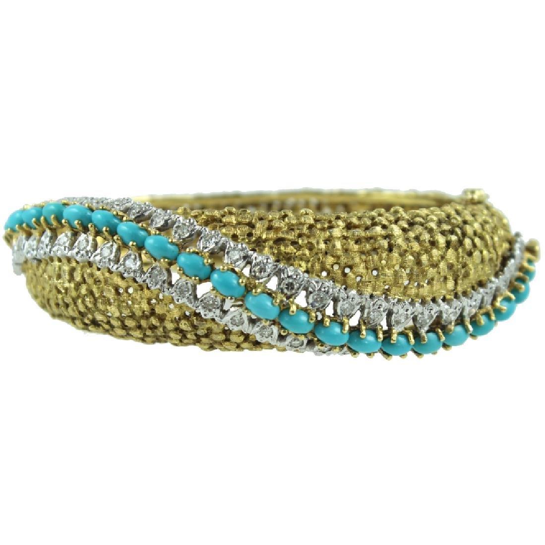 18K Turquoise & Diamond bangle bracelet.