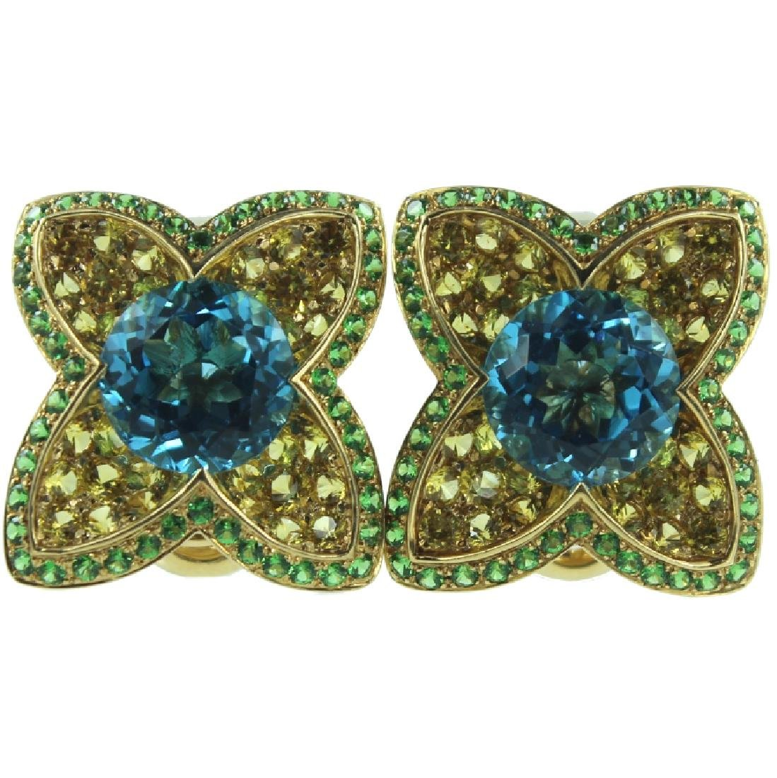 18K YG Sapphire Topaz & Tsavorite Earrings