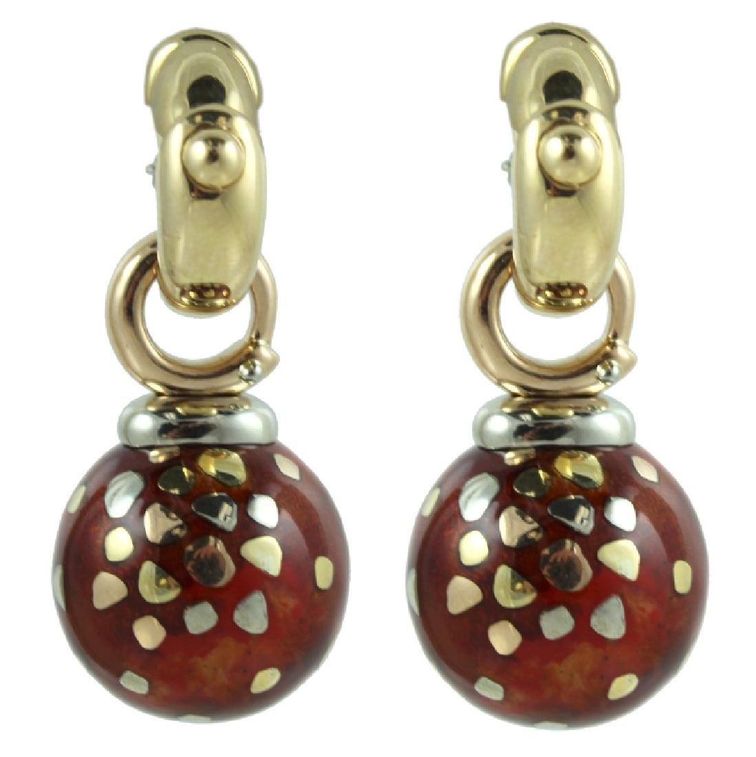 Earrings,18K Yellow Gold La Nouvelle Bague Enamel