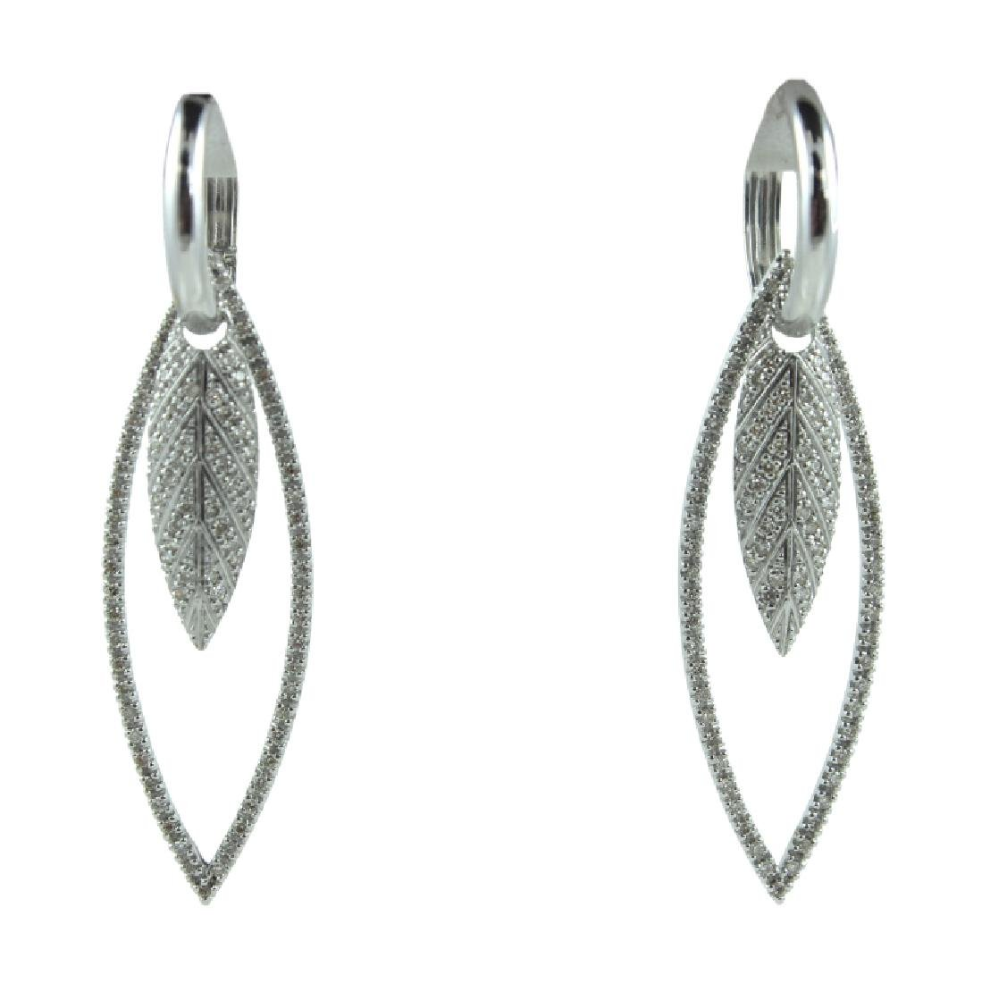 Pair 18K Leaf Design Diamond Earrings