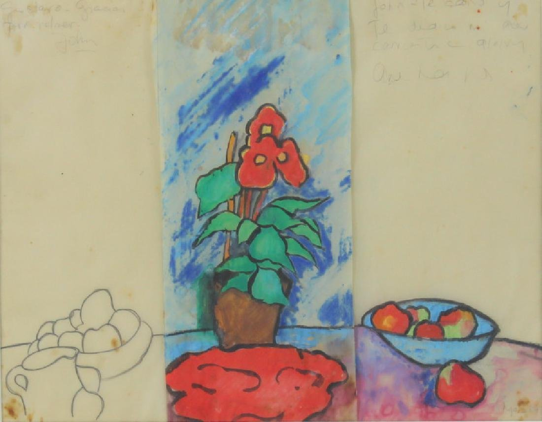 Signed Mos 84 still life work on paper