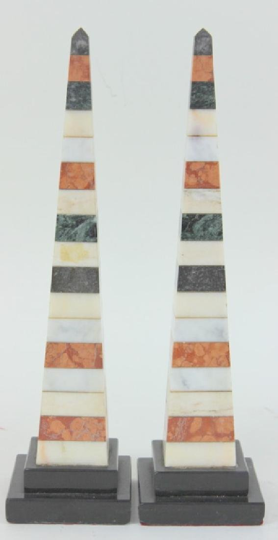 Pair of Obelisk Marble Pillars