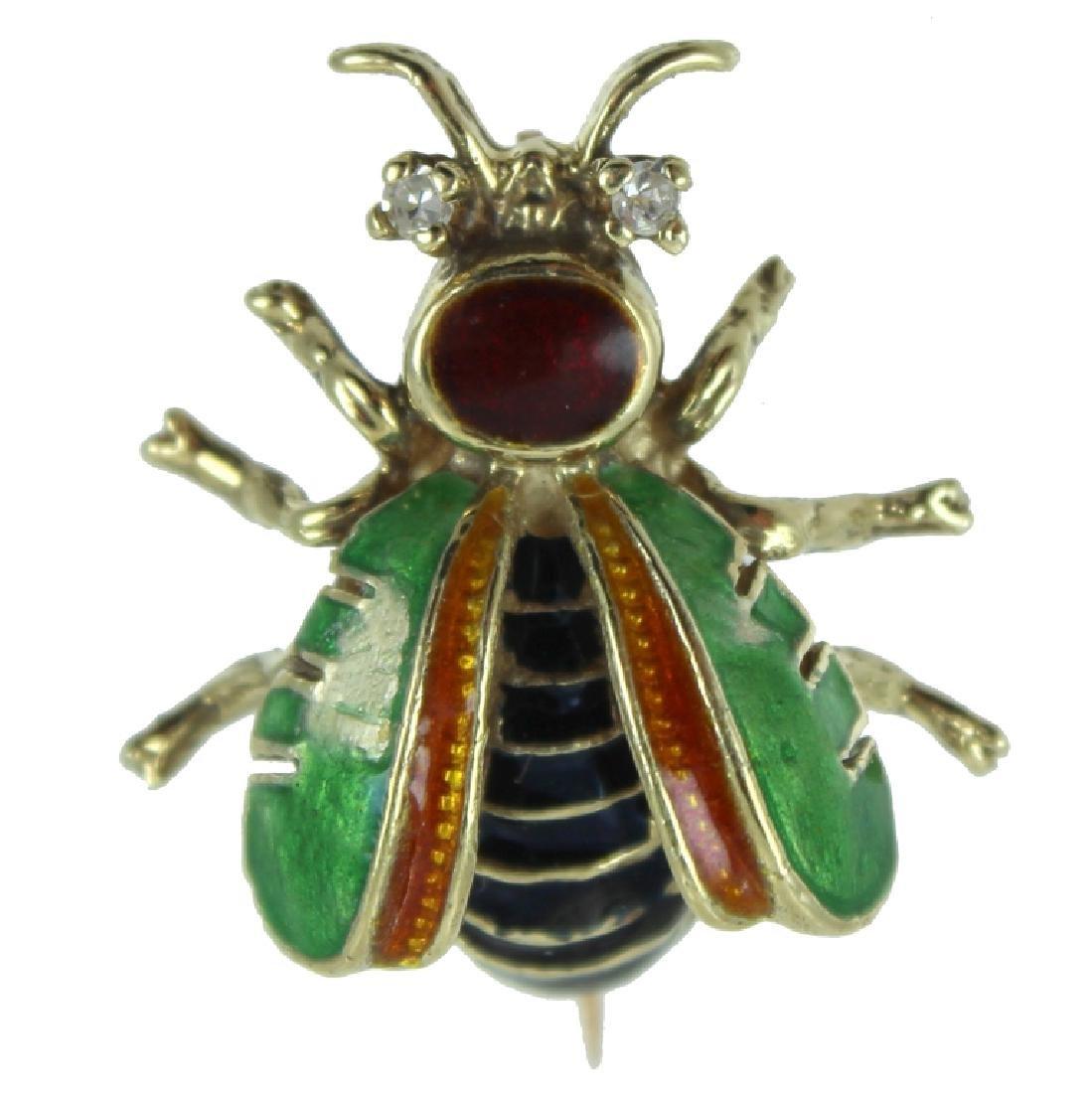 14K. Bee Pin. Enamel.