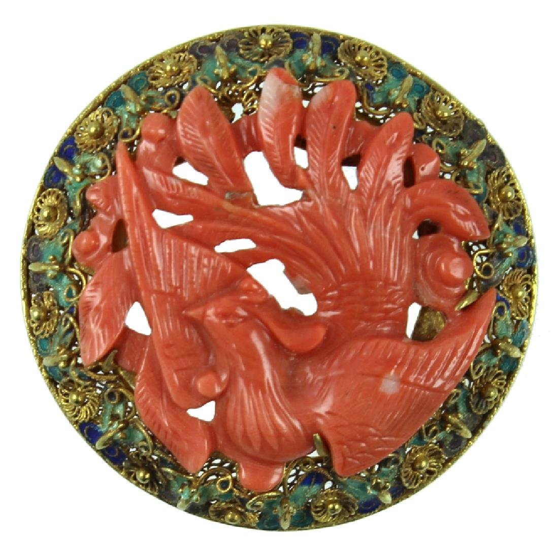 Chinese Coral Bird Brooch Pendant.