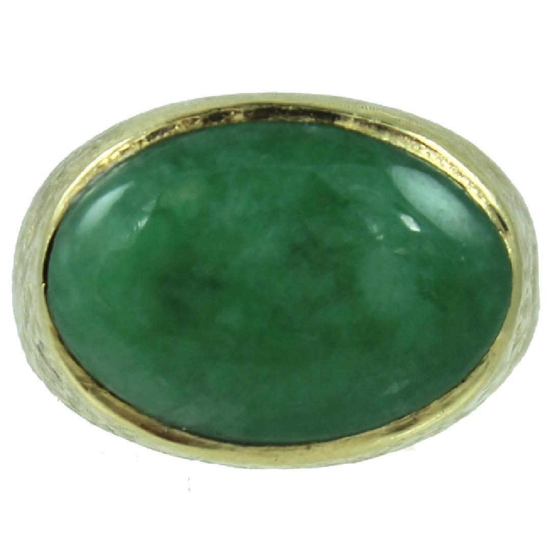 Mens 18K Jade Ring.