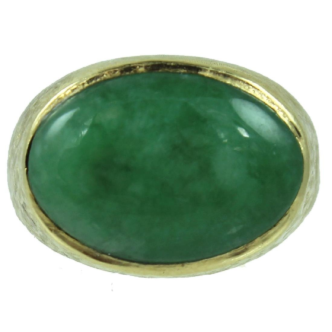 Mens 18K Jade Ring.