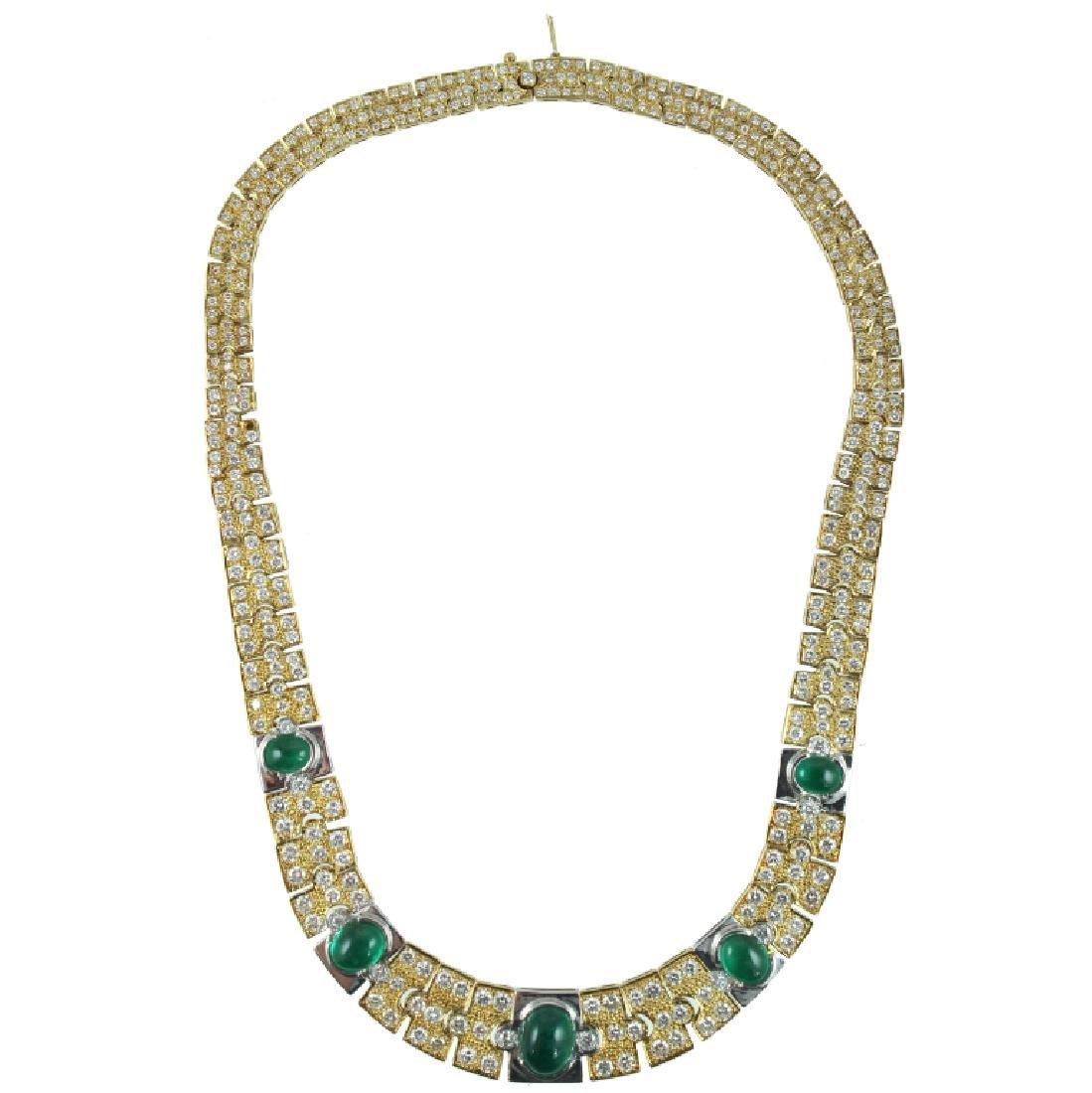 18K Yellow Gold, Diamond & Emerald Necklace