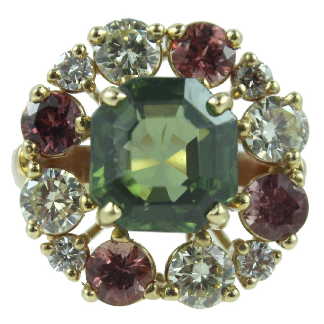 14K Yellow Gold, Diamond & Tsavorite Garnet Ring