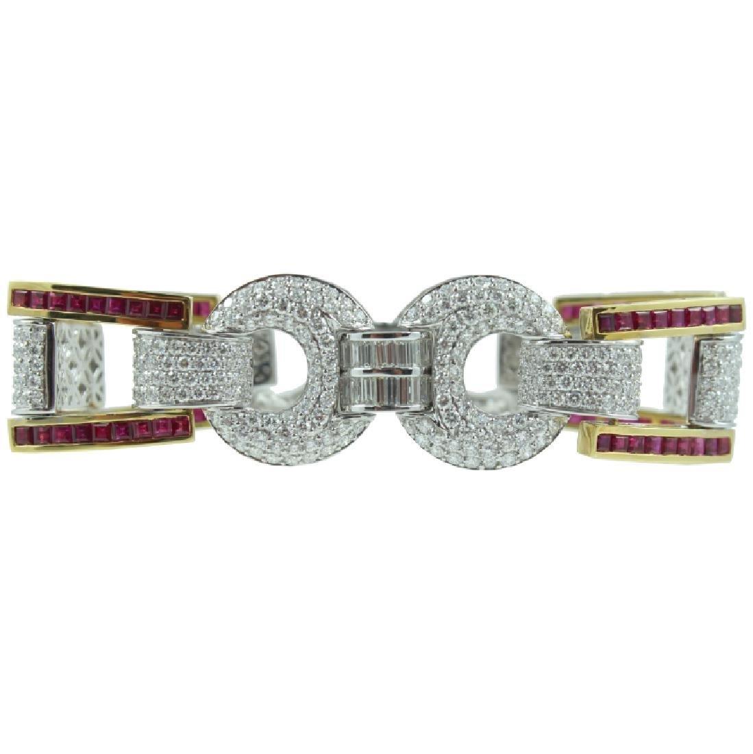18K Yellow & White Gold, Diamond & Ruby Bracelet