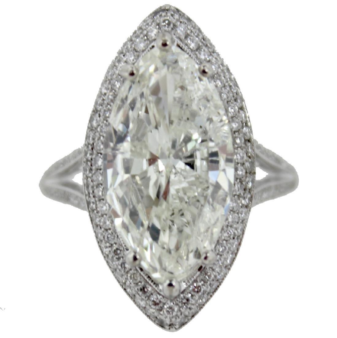 5.84 Carat Marquise Brilliant Cut Diamond Ring.