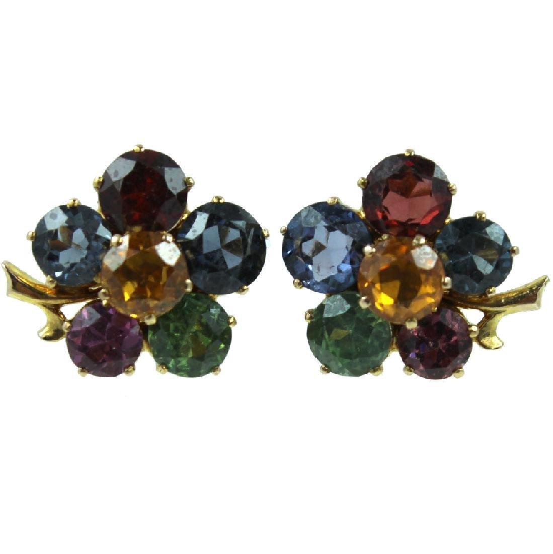Cute 14K Colored Stone Flower Earrings.