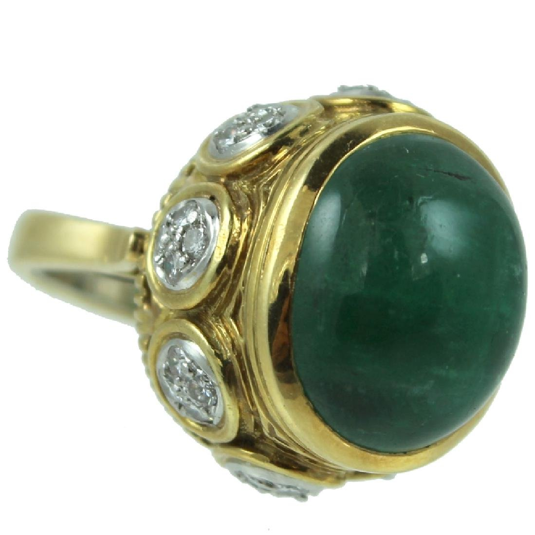 18K Emerald & Diamond Ring.