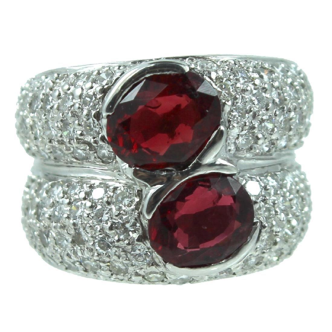 Platinum Garnet & Diamond Ring.