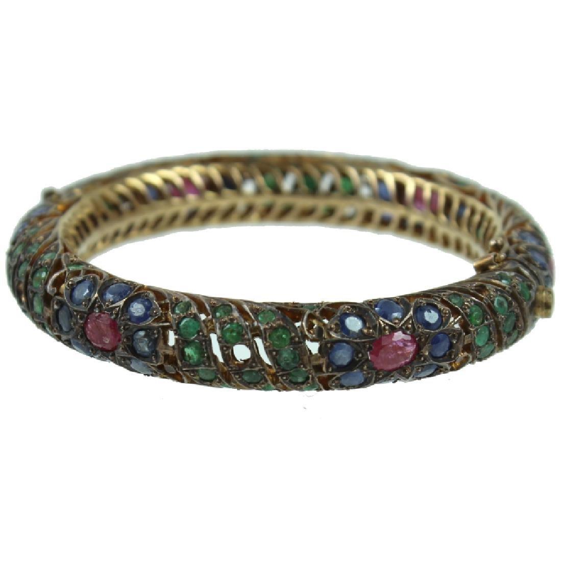 Middle Eastern 8K Sapphire, Ruby, Emerald Bracelet