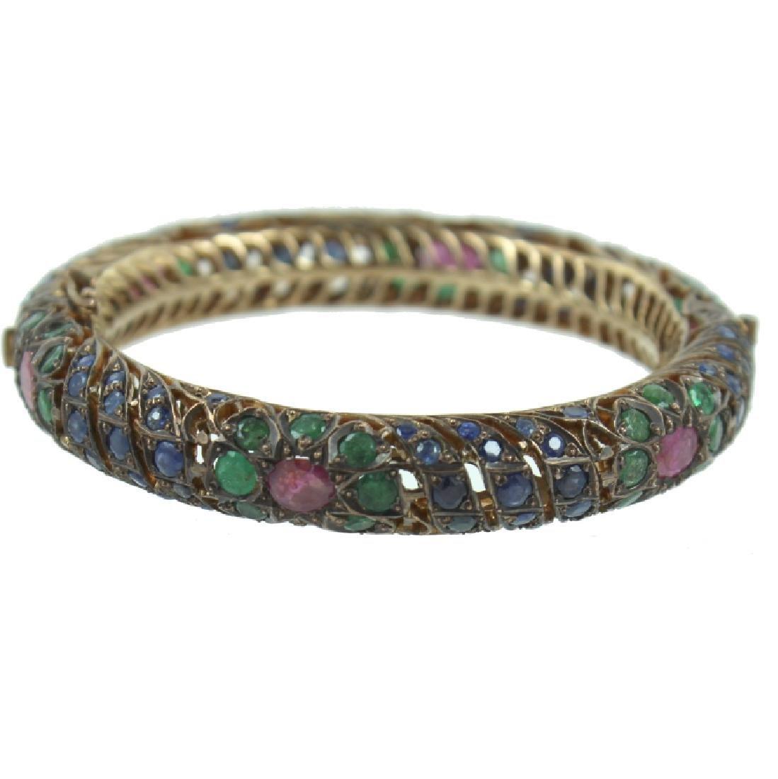 Middle Eastern 8K Ruby, Sapphire, Emerald Bracelet