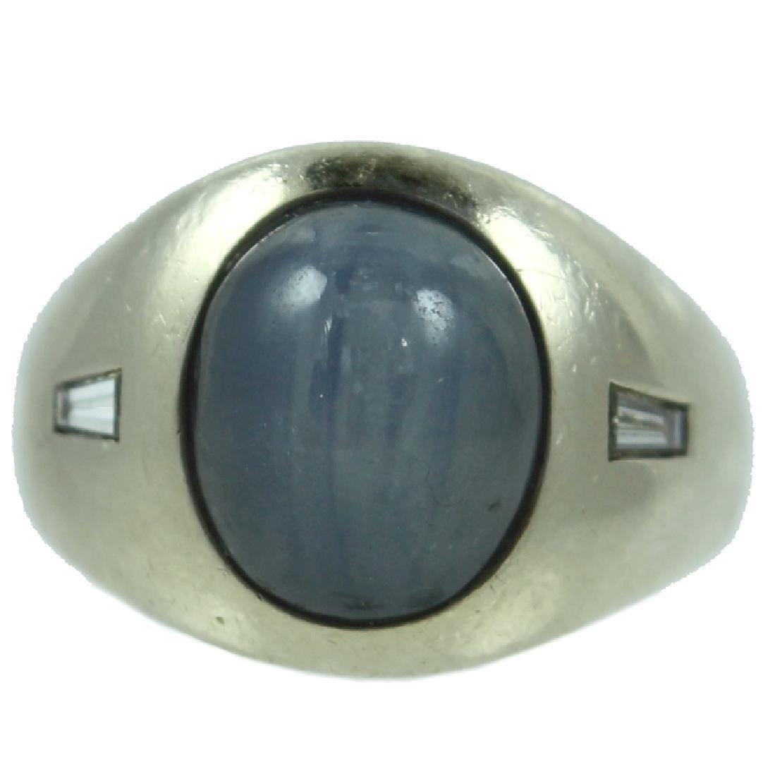 Mens 14K Star Sapphire Diamond Ring.