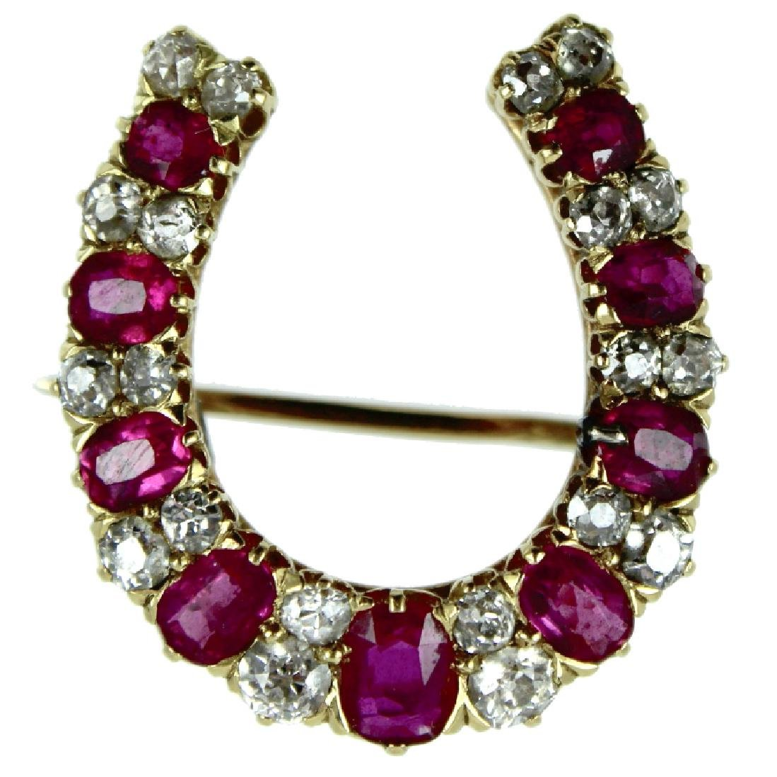 18 Karat Burma Ruby & Diamond Horseshoe Pin.
