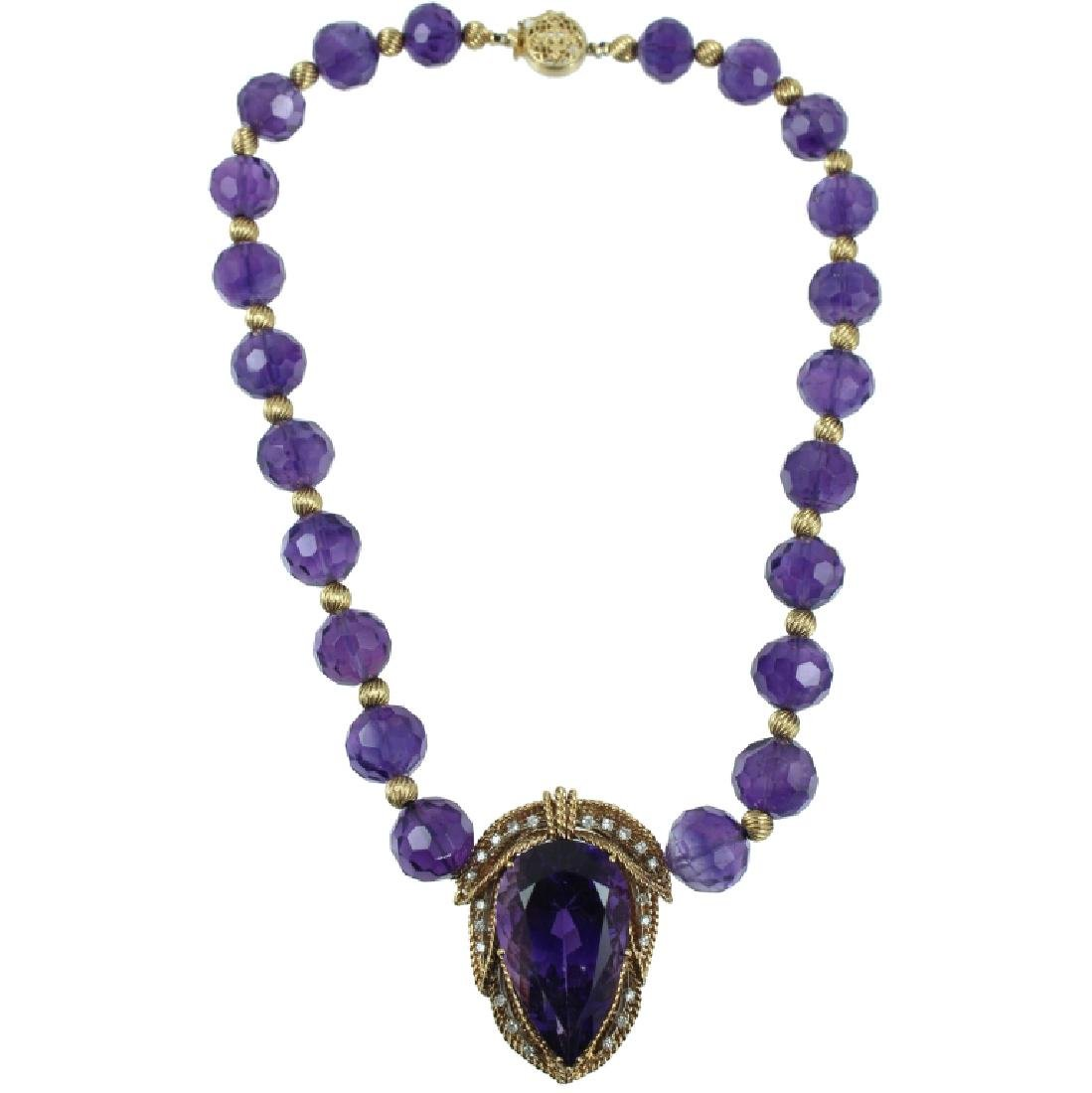 A Very Fine Amethyst & Diamond Necklace.