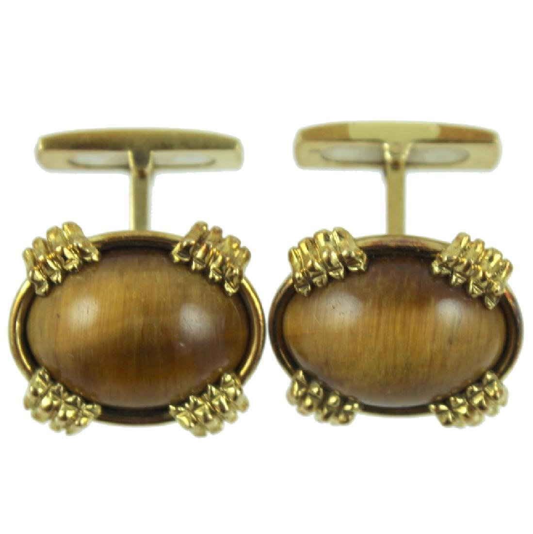 18K Fortunoff Tigers Eye Cufflinks.