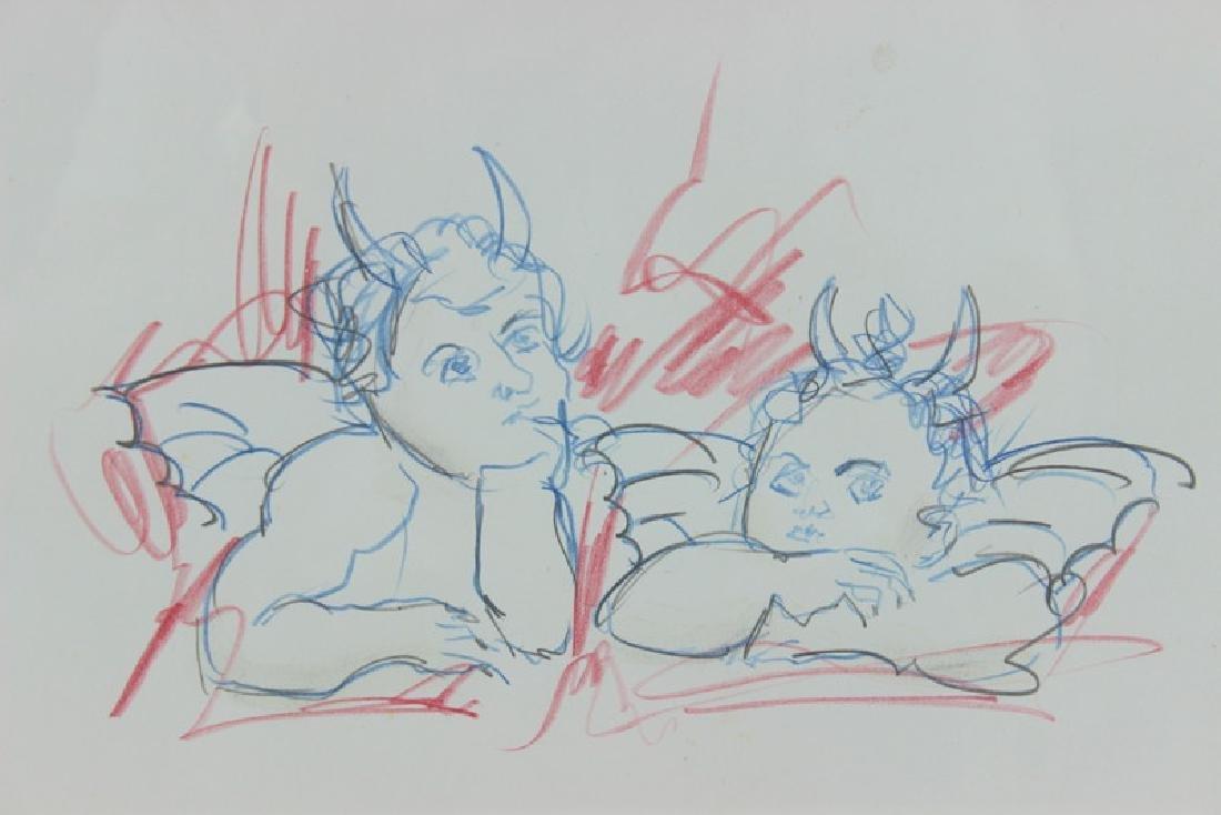 cherub devil drawing. Unsigned.