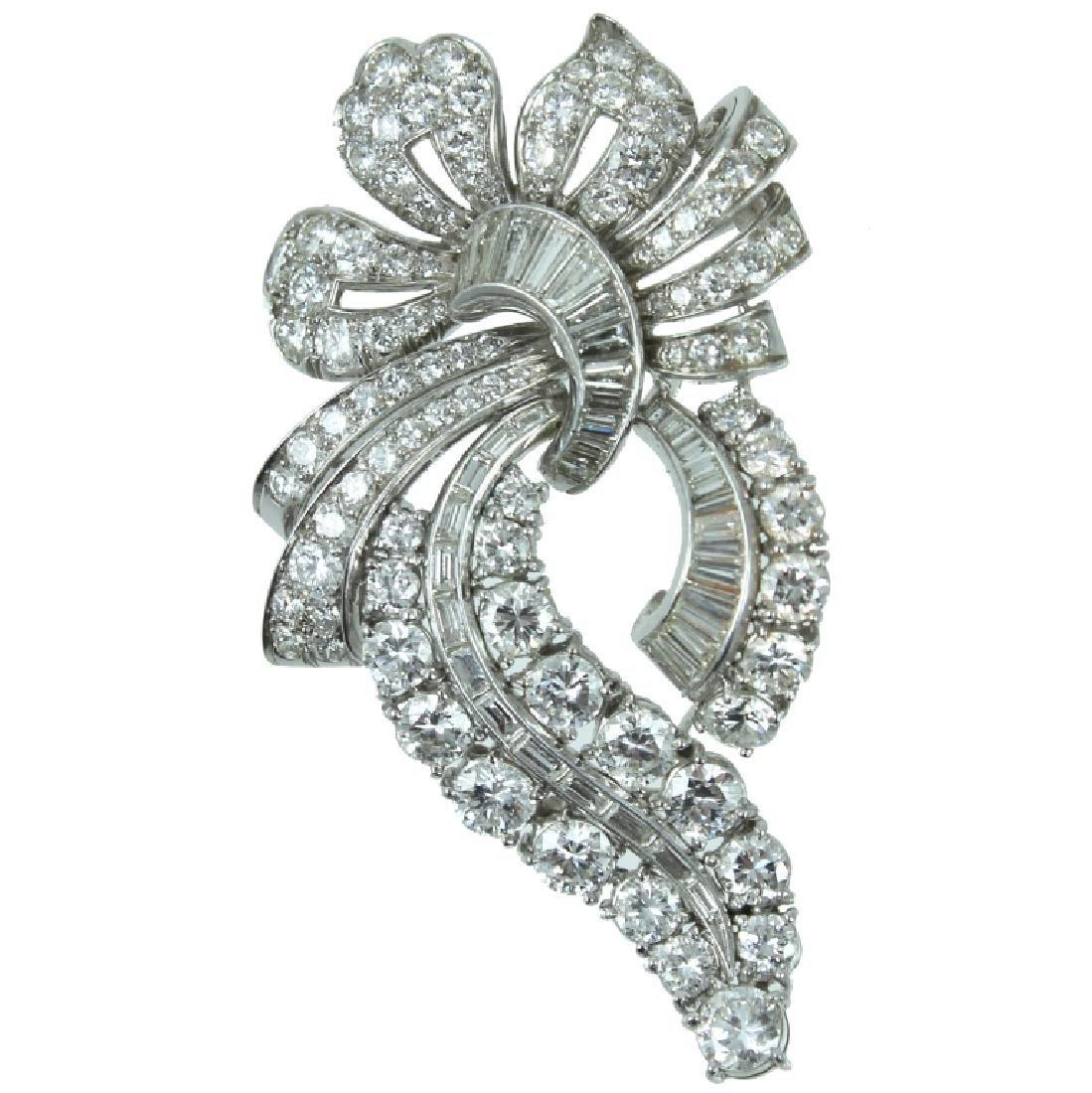 Platinum approx 11.00 carat Diamond Brooch.