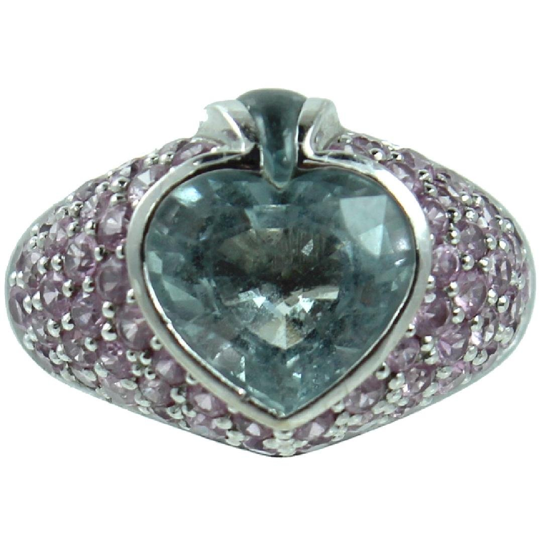 18K White Gold Aquamarine Diamond Ring.