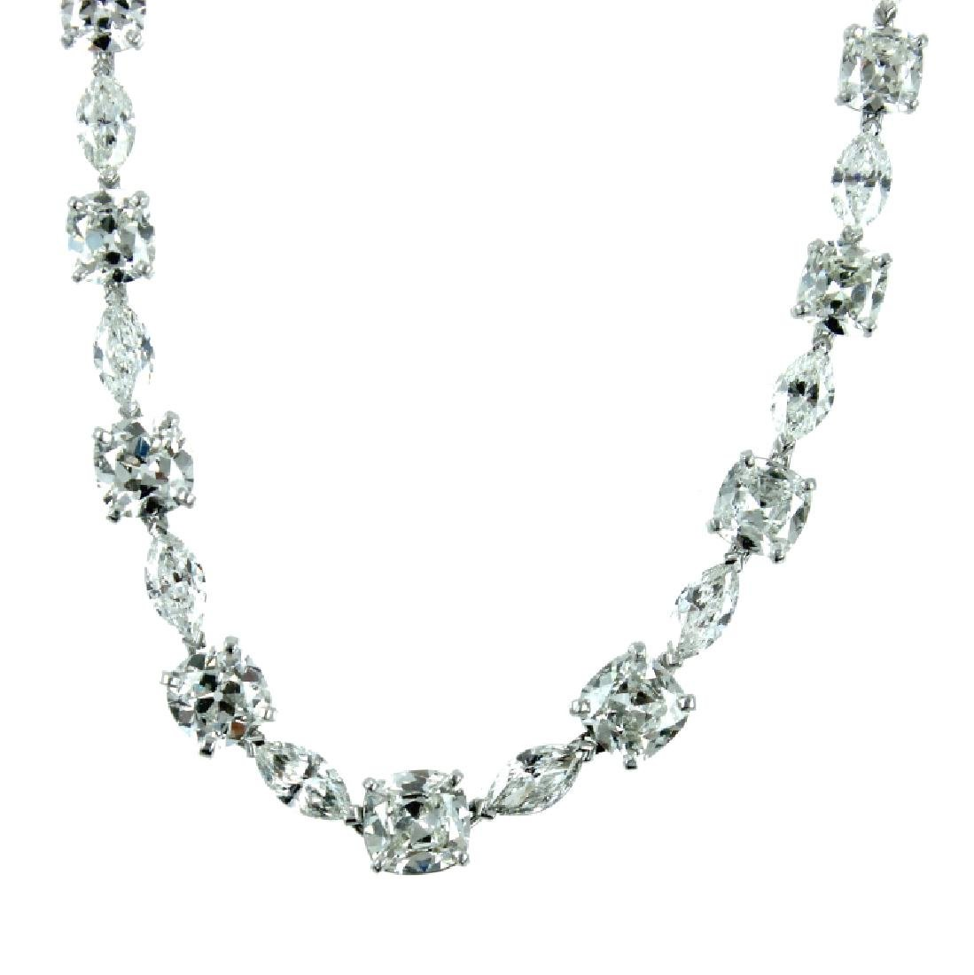 GIA, Certified Platinum 33.50CT Diamond Necklace.