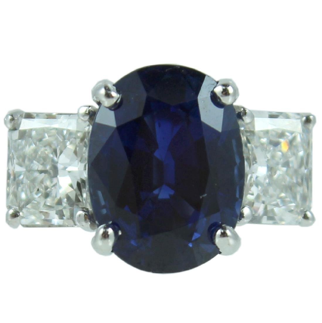 GIA, 5.60 Oval Blue Sapphire & Diamond Ring.