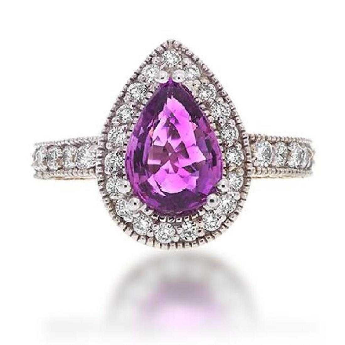 Pink Sapphire & Diamond Ring, 3.01 Carat
