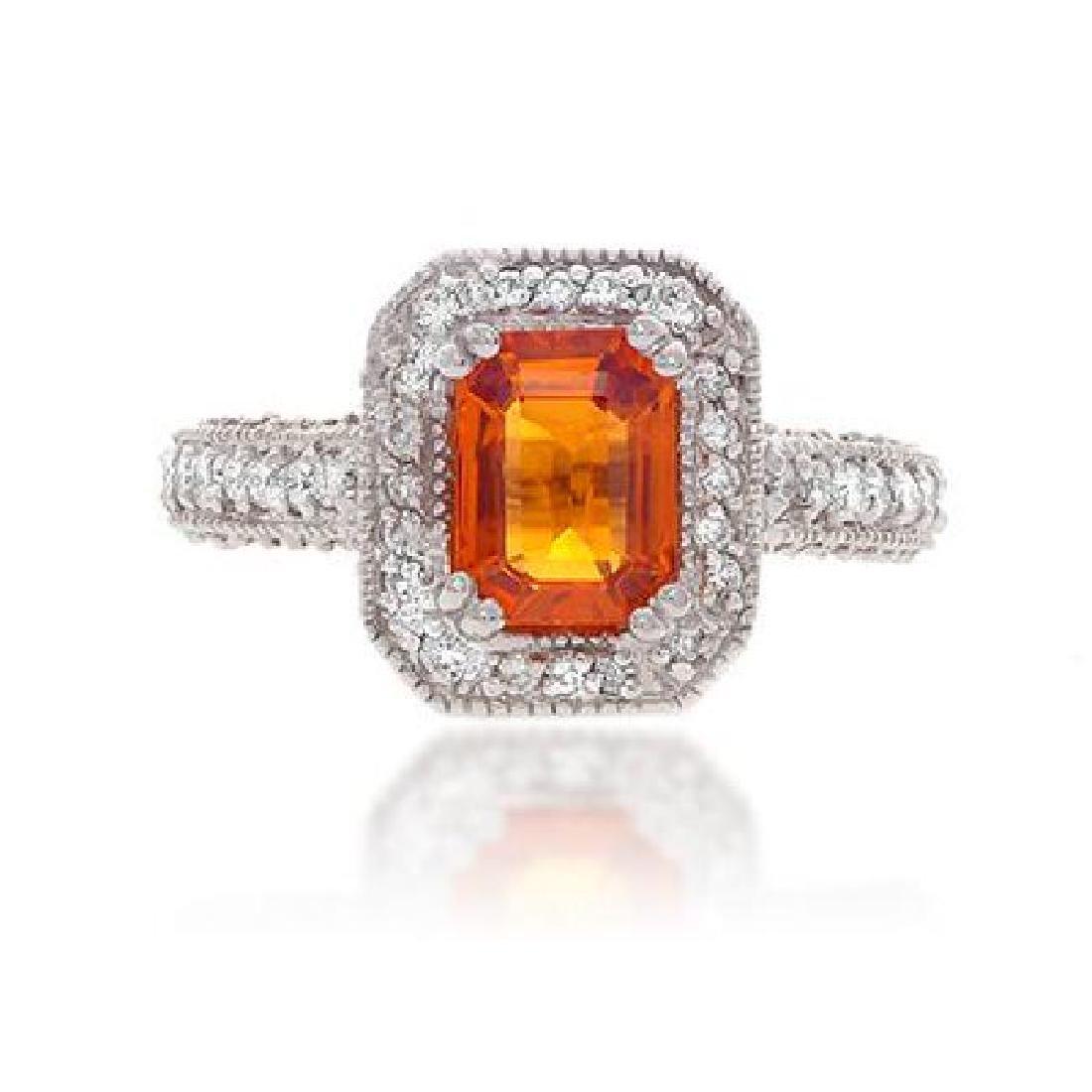 Orange Sapphire & Diamond Ring